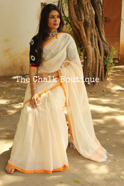 White 'handloom mark' handwoven begumpuri saree with thin mustard contrast border. TCB-PI2-C2-BG