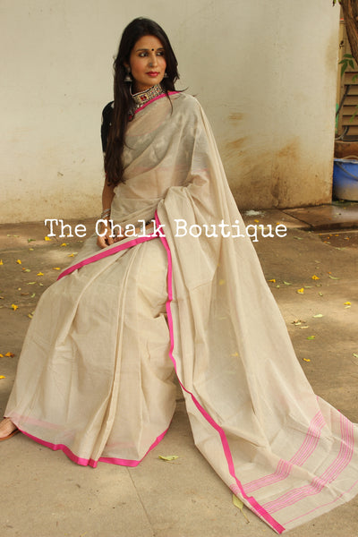 Light Coffee 'handloom mark' handwoven begumpuri saree with thin pink contrast border. TCB-PI3-C2-BG