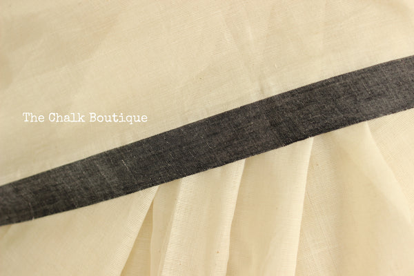 White 'handloom mark' handwoven begumpuri saree with thin black contrast border. TCB-PI5-C2-BG-The Chalk Boutique