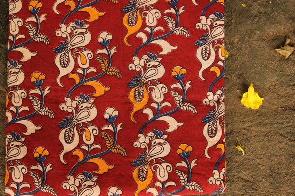 'Morni ( Peacock)' Red Hand Block Printed Cotton Kalamkari Fabric. TCB-CKAL2-P17