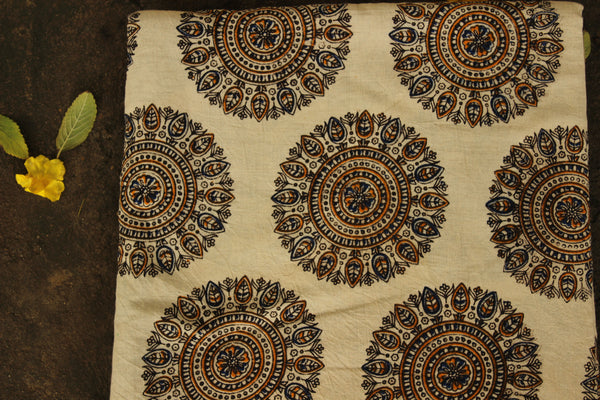 Cream Hand Block Printed Cotton Kalamkari Fabric. TCB-CKAL3-P17