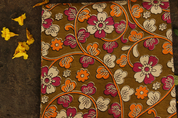 'Phool' Olive Green Hand Block Printed Cotton Kalamkari Fabric. TCB-CKAL4-P17