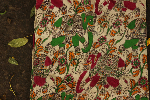'Haathi' Cream Hand Block Printed Cotton Kalamkari Fabric. TCB-CKAL5-P17