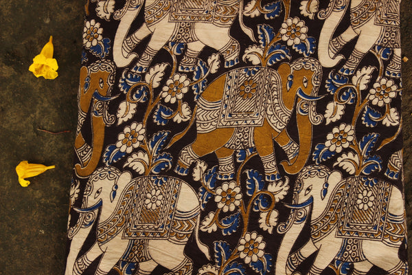 'Haathi' Black Hand Block Printed Cotton Kalamkari Fabric. TCB-CKAL6-P17