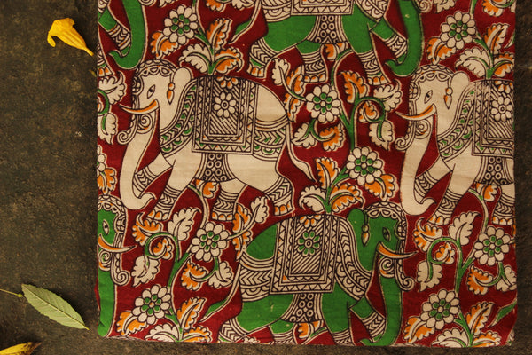 'Haathi' Red Hand Block Printed Cotton Kalamkari Fabric. TCB-CKAL8-P17