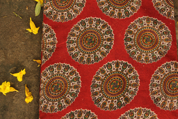 Red Hand Block Printed Cotton Kalamkari Fabric. TCB-CKAL9-P17