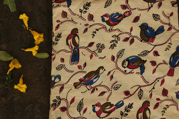 Cream 'Birdie' Hand Block Printed Cotton Kalamkari Fabric. TCB-CKAL12-P17