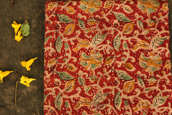 Red overall Hand Block Printed Cotton Kalamkari Fabric.
