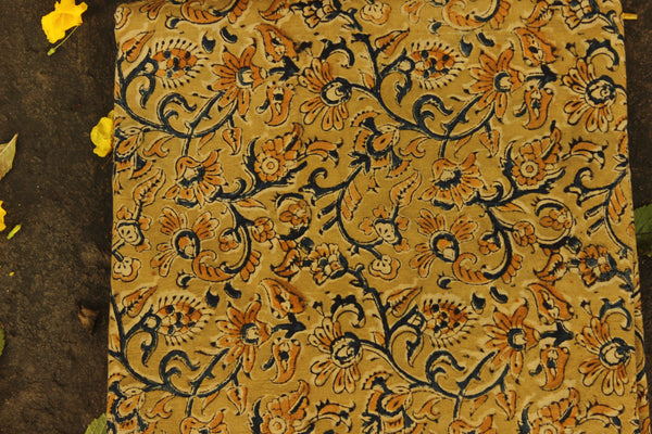 Olive Green overall Hand Block Printed Cotton Kalamkari Fabric.