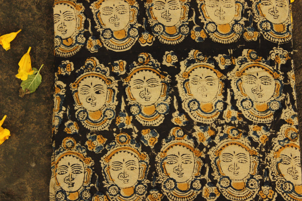 'Devi' Black with Mustard overall Hand Block Printed Cotton Kalamkari Fabric. TCB-OKAL3-P17
