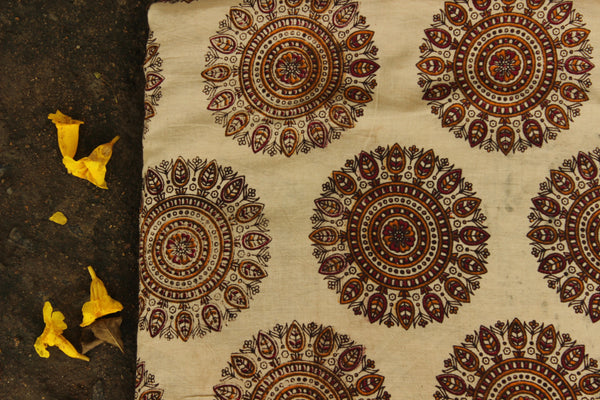 Cream Hand Block Printed Cotton Kalamkari Fabric. TCB-CKAL13-P17
