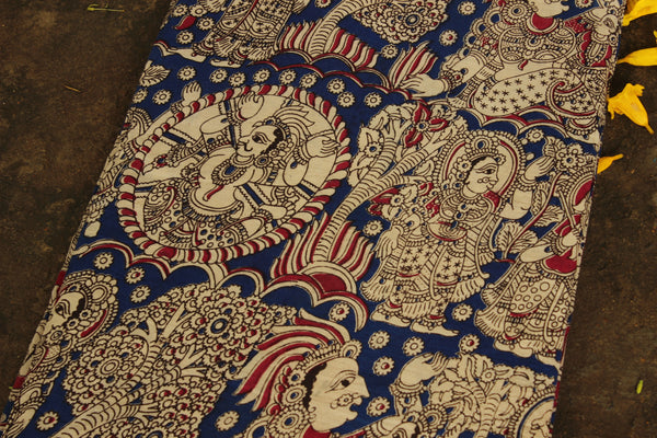 Blue Hand Block Printed Cotton Kalamkari Fabric. TCB-CKAL14-P17