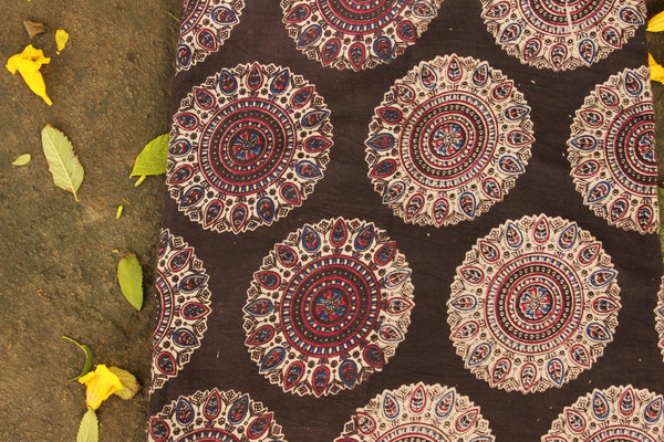 Black Hand Block Printed Cotton Kalamkari Fabric. TCB-CKAL15-P17