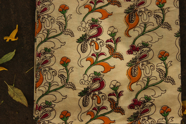 'Peacock' Cream Hand Block Printed Cotton Kalamkari Fabric. TCB-CKAL16-P17