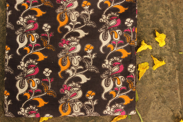 'Peacock' Black Hand Block Printed Cotton Kalamkari Fabric. TCB-CKAL17-P17