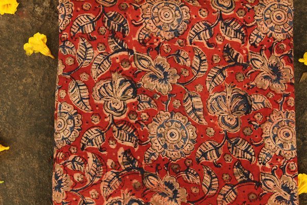 Red overall Hand Block Printed Cotton Kalamkari Fabric. TCB-OKAL7-P17