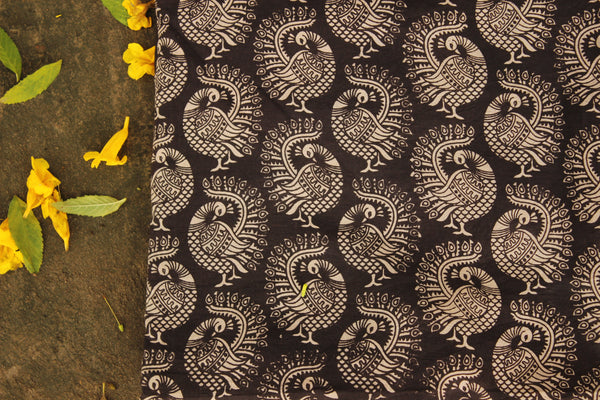 'Peacock' Black overall Hand Block Printed Cotton Kalamkari Fabric. TCB-OKAL10-P17