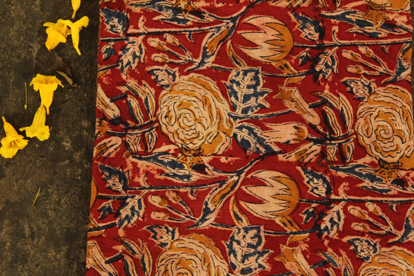 'Flower' Red Hand Block Printed Cotton Kalamkari Fabric. TCB-OKAL12-P17