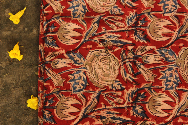 Overall Hand Block Printed Cotton Kalamkari Fabric.