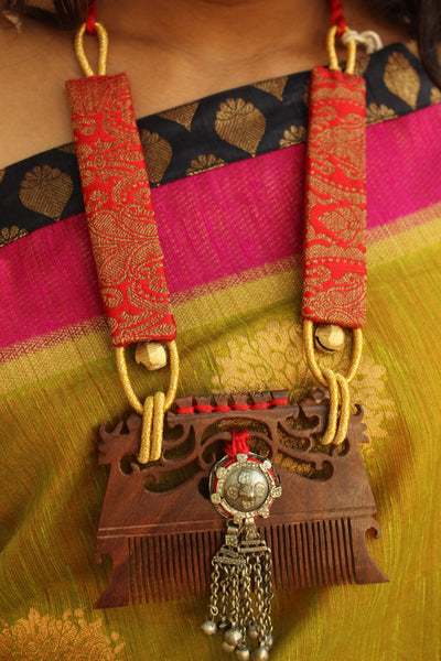 Brocade Fabric With Wooden Comb Necklace with Adjustable Dori. AN112A