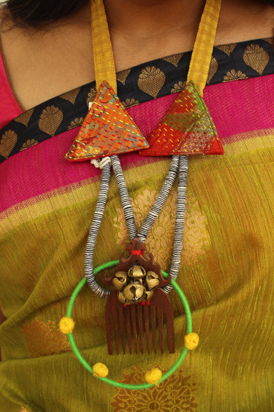 Kantha Fabric With Wooden Comb Necklace with Adjustable Dori. AN111A