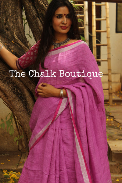 | Lilac Spray | - Festive Purple linen saree with contrast zari border and tasseled palla.NF-LL10-C6
