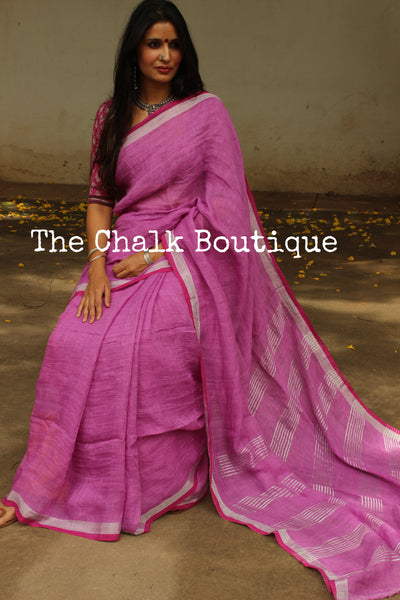 | Lilac Spray | - Festive Purple linen saree with contrast zari border and tasseled palla.NF-LL10-C6-The Chalk Boutique
