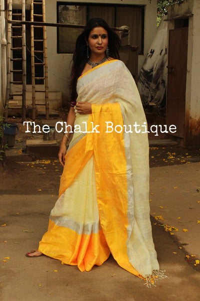 | Utterly-Butterly | Shimmery linen saree with zari paar and tassels on the pallu. NF-LL11-C6-The Chalk Boutique