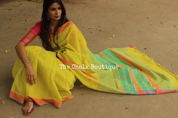 Green Handwoven Cotton Saree with butas all over. CH-SB-6