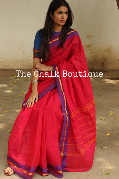 Pink Kanchi Cotton Saree With Contrast Ready to Wear Blouse ( Size 36 ). RK-KC1-C40