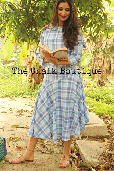Cold Shoulder-Checks Dress GC-D-62-The Chalk Boutique