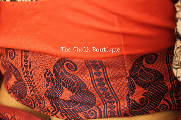 Orange Kanchi Cotton Saree With Contrast Ready to Wear Blouse ( Size 36 ). RK-KC3-C40