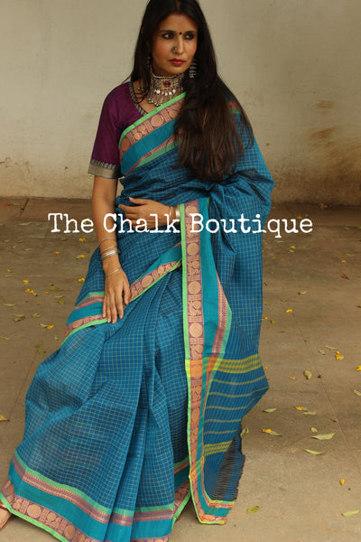 Blue Checked Kanchi Cotton Saree With Contrast Ready to Wear Blouse ( Size 36 ). RK-KC4-C40
