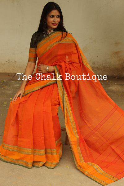 Rust Orange Kanchi Cotton Saree With Contrast Ready to Wear Blouse ( Size 36 ). RK-KC5-C40