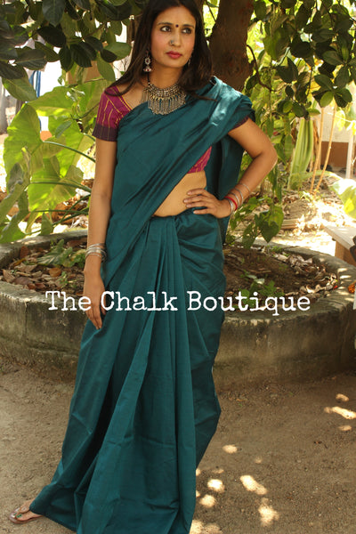 Blue Plain Poly- silk saree with brocade blouse fabric. RK-PS5-C31