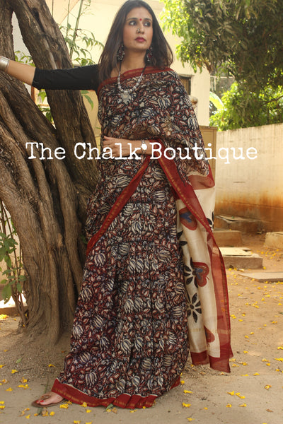 Handblock printed dabu saree in chanderi silk. SHB-CH-11