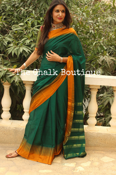 Green Mercerised Cotton Saree With Contrast Temple Style Border. TCB-GM1-P18-The Chalk Boutique