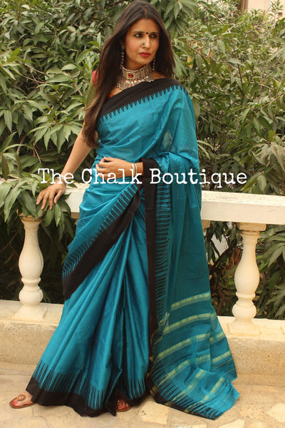 Blue Mercerised Soft Cotton Saree With Contrast Temple Style Border. TCB-GM2-P17-The Chalk Boutique