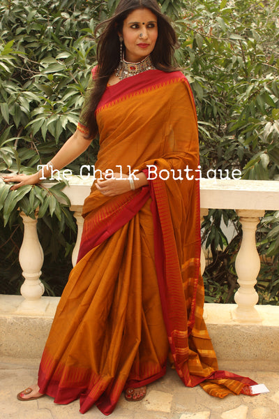 Rust Mercerised Soft Cotton Saree With Contrast Temple Style Border. TCB-GM4-P18-The Chalk Boutique