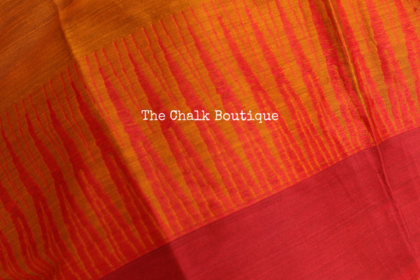 Rust Mercerised Soft Cotton Saree With Contrast Temple Style Border. TCB-GM4-P18