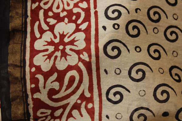 Handblock printed dabu saree in chanderi silk. SHB-CH-2
