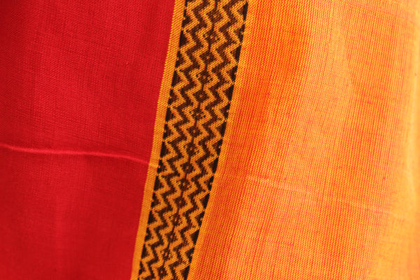 Sunset yellow Handwoven Cotton Saree  Code- CH-CC-1