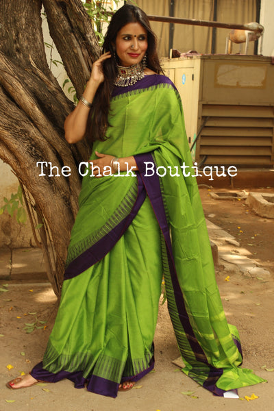 Green Mercerised Soft Cotton Saree With Contrast Purple emple Style Border. TCB-GM2-P18