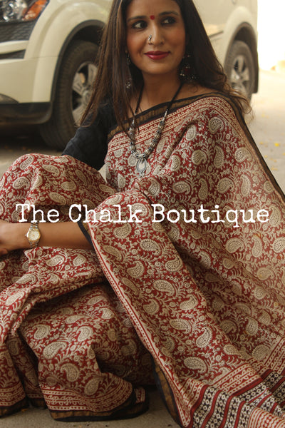 Handblock printed dabu saree in chanderi silk. SHB-CH-7