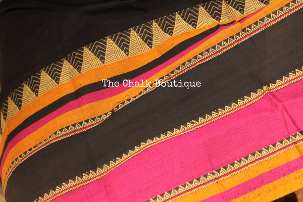Black Soft Cotton Saree With Contrast Broad Temple Style Border. TCB-BB1-P18-The Chalk Boutique