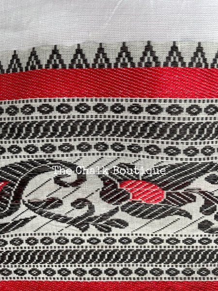 Grey cotton saree with kantha weaving. TS 3763A
