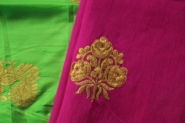 Green Sana silk saree with embroidery motif. RK-SS4-C31