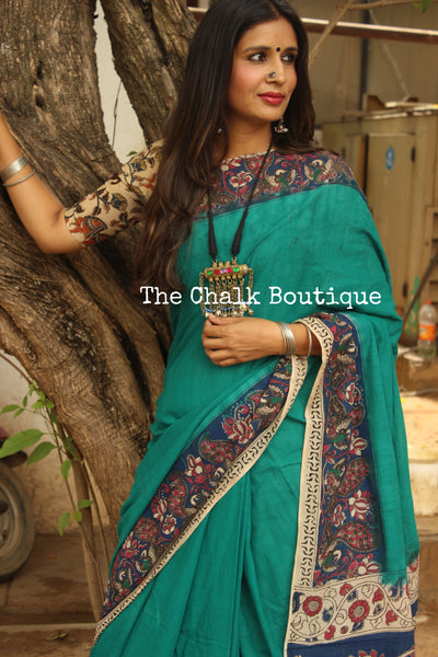 Blue Plain with border soft hand block printed cotton Kalamkari Saree. Code- TCB-COT1-P7