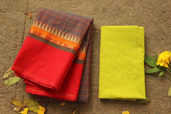 Purple Checked Kanchi Cotton Saree with contrast woven Border. TCB-KC8-KN-The Chalk Boutique