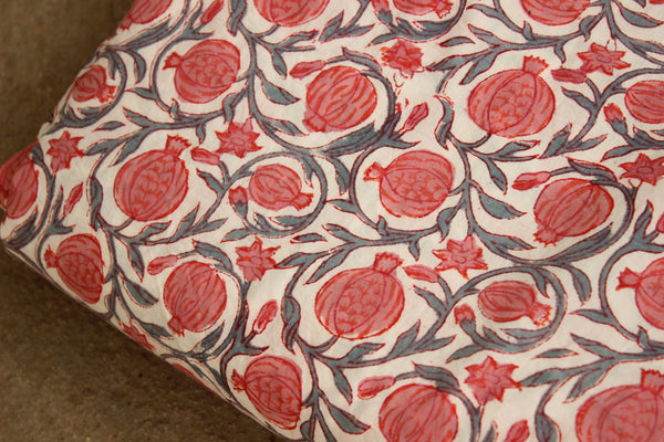 Pomegranate Dabu Hand Block Printed Fabric In Cotton . SHB-FAB-4